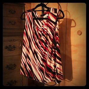 Calvin Klein Red and Black Striped Top EUC
